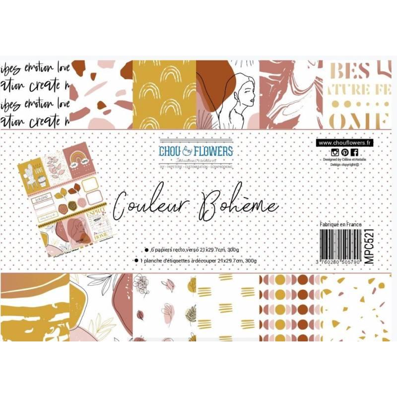Papier A4 - Chou & Flowers - Couleur Bohème