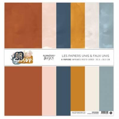Kit Papiers Unis Florilèges - Or Saison 30.5 X 30.5