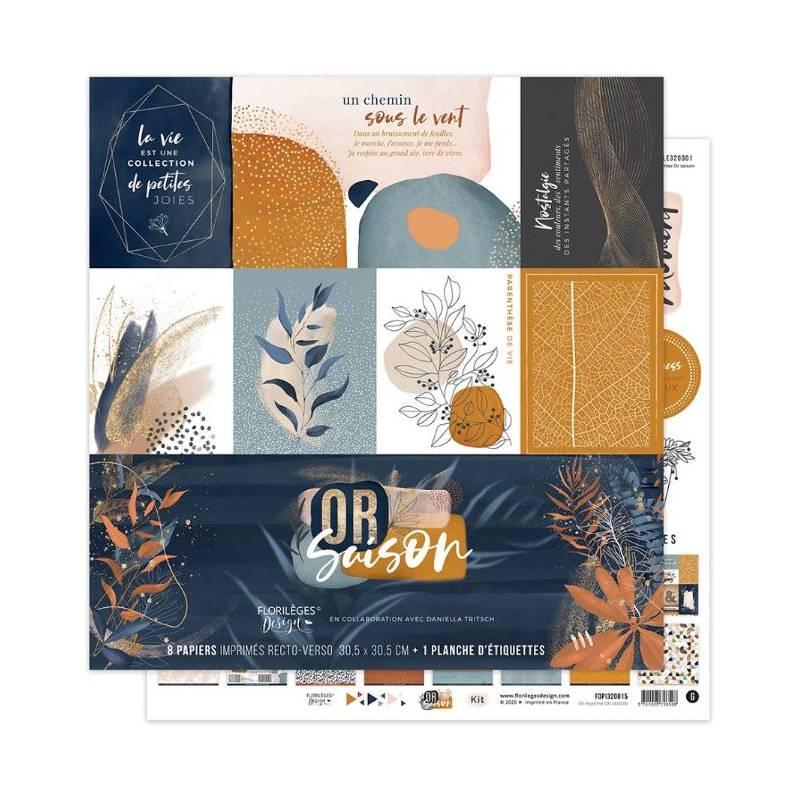 Kit Papiers Imprimés Florilèges - Or Saison 30.5 X 30.5