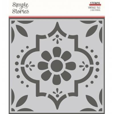 Stencil - Simple Stories - Vintage Tile