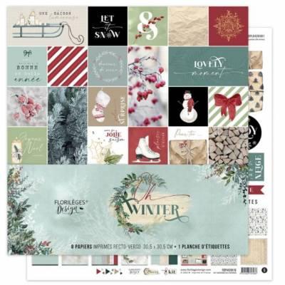 Kit Papiers Imprimés Florilèges - Oh Winter 30.5 X 30.5