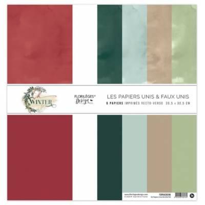 Kit Papiers Unis Florilèges - Oh Winter 30.5 X 30.5