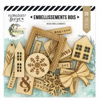 Embellissements bois gravé - Oh Winter