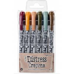 Distress Crayons - 6 feutres aquarelles assortis - Set 10