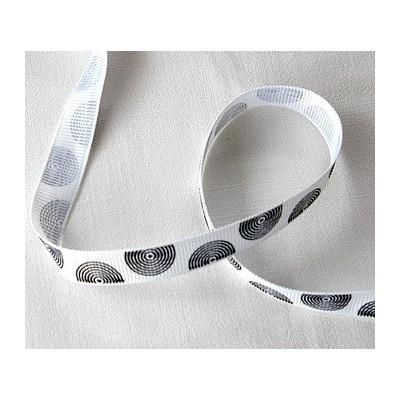 Ruban grosgrain blanc cercles noirs