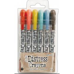 Distress Crayons - 6 feutres aquarelles assortis - Set 7
