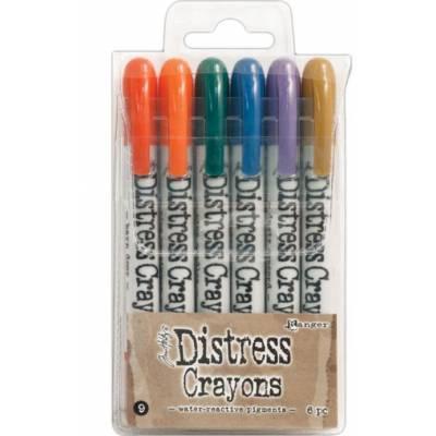 Distress Crayons - 6 feutres aquarelles assortis - Set 9