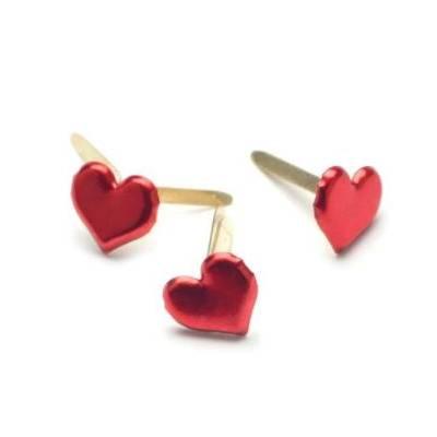 Mini brads métalliques (50p) - Coeur rouge