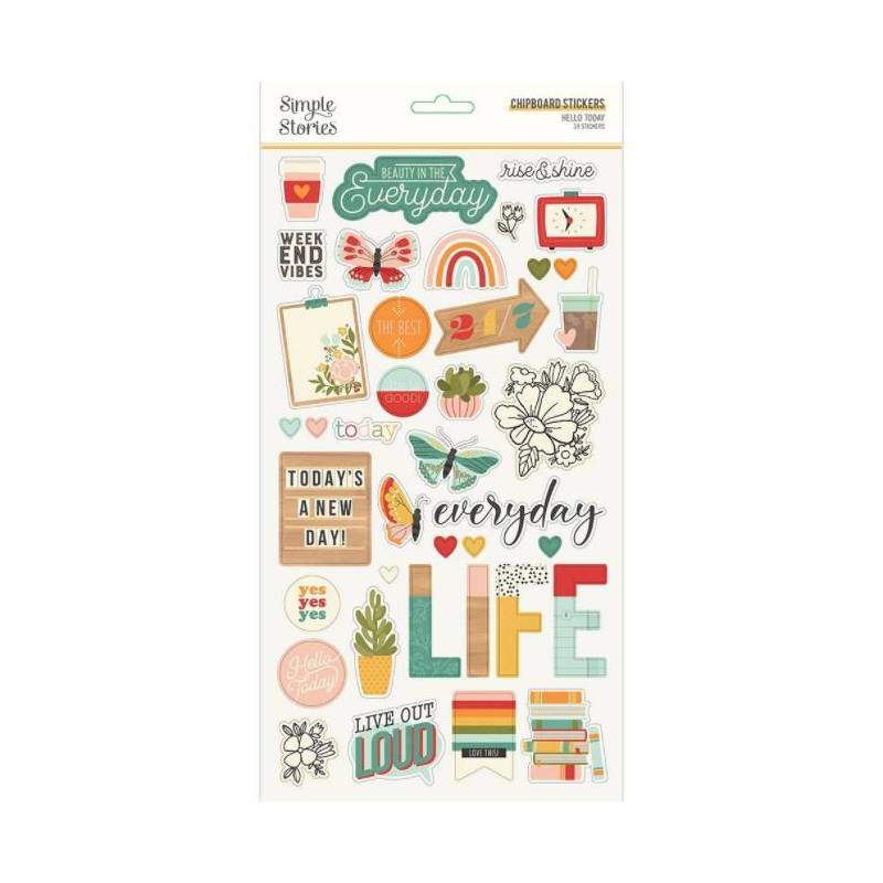 Chipboards - Simple Stories - Hello Today