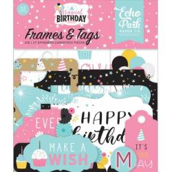 Die Cuts - Echo Park - Magical Birthday - Girl Frames & Tags