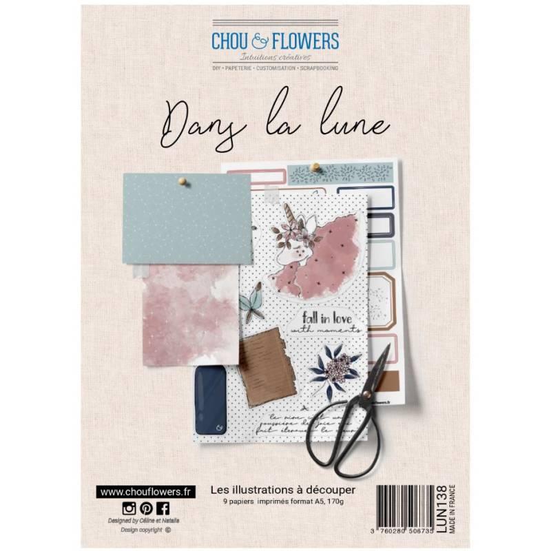 Papiers A5 - Chou & Flowers - Les illustrations - Dans la lune