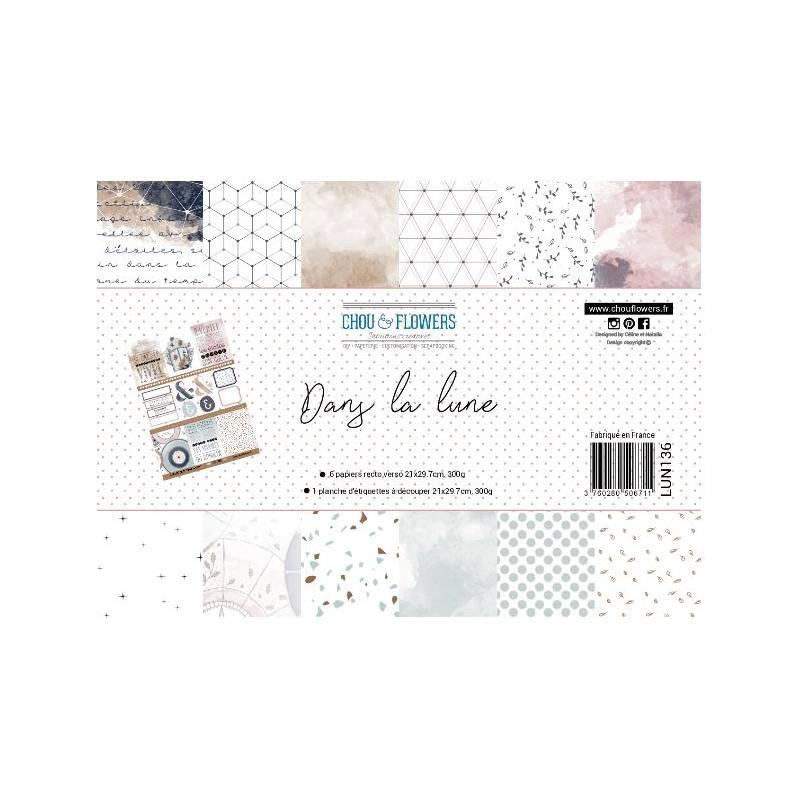 Pack Papier A4 - Chou & Flowers - Dans la lune