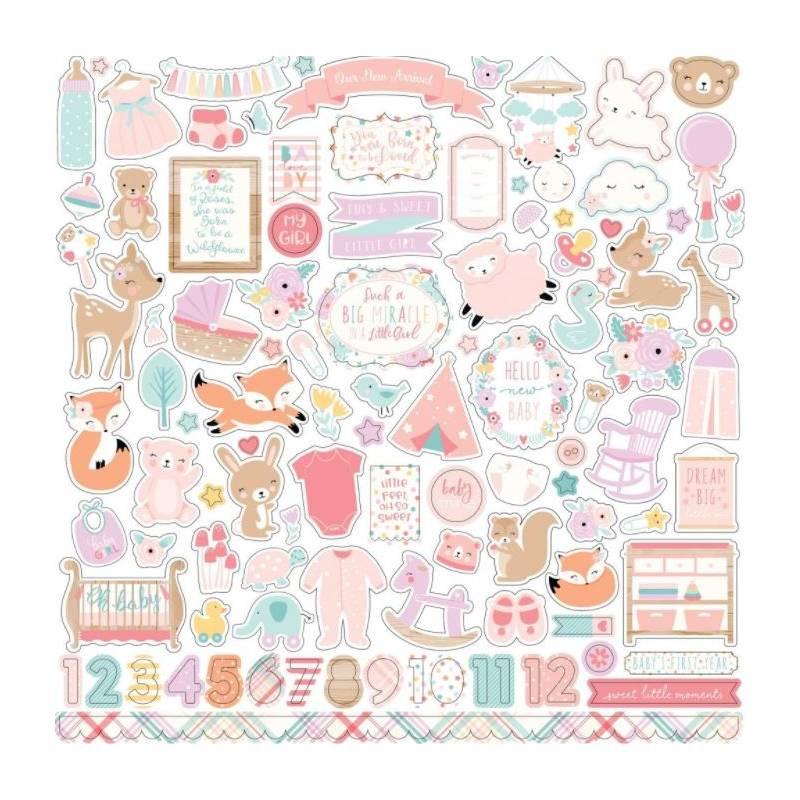 Stickers 30.5 x 30.5 - Echo Park - Hello Baby Girl