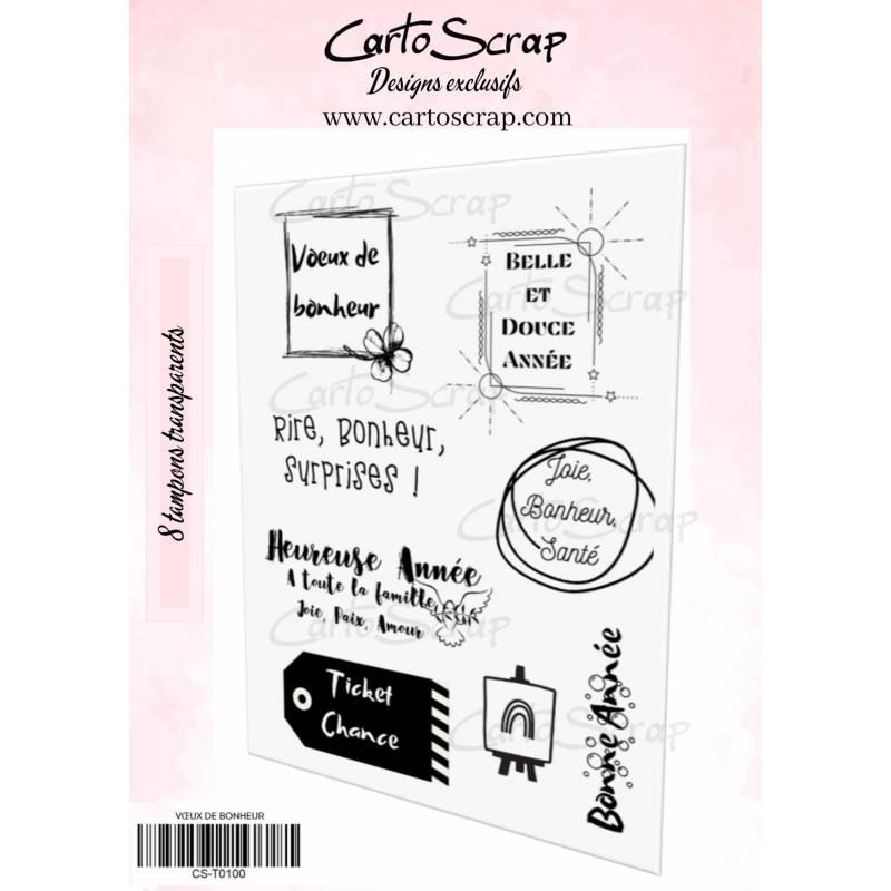 Tampons CartoScrap - Vœux de bonheur