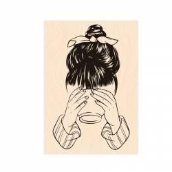 Tampon bois - Collection Bienvenue chez Moi - Jeune Fille au bol