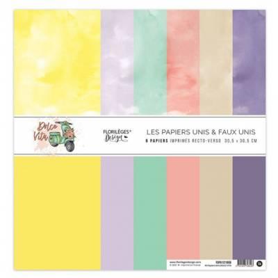 Kit Papiers Unis Florilèges - Dolce Vita 30.5 X 30.5