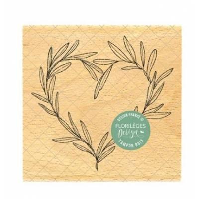 Tampon bois - Florilèges - Dolce Vita - Coeur de feuille