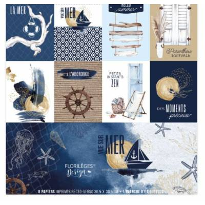 Kit Papiers Imprimés Florilèges - Vue sur mer - 30.5 X 30.5