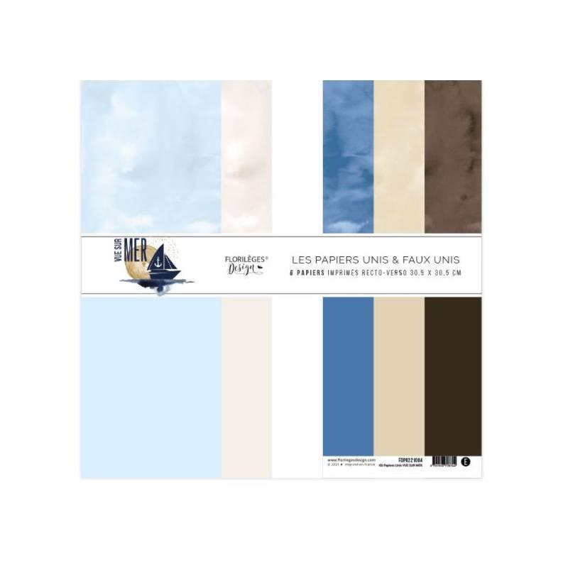 Kit Papiers Unis Florilèges - Vue sur mer - 30.5 X 30.5