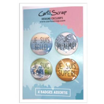 Lot de 4 badges 38mm CartoScrap - Autosuggestion
