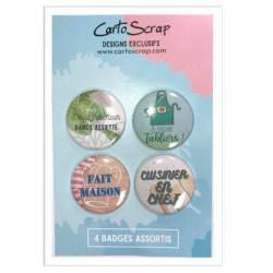 Lot de 4 badges 38mm CartoScrap - Top Chef