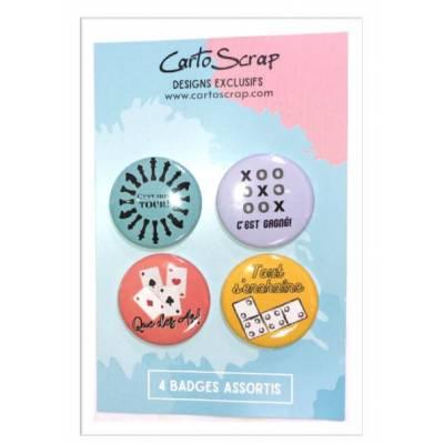 Lot de 4 badges 38mm CartoScrap - Jeux
