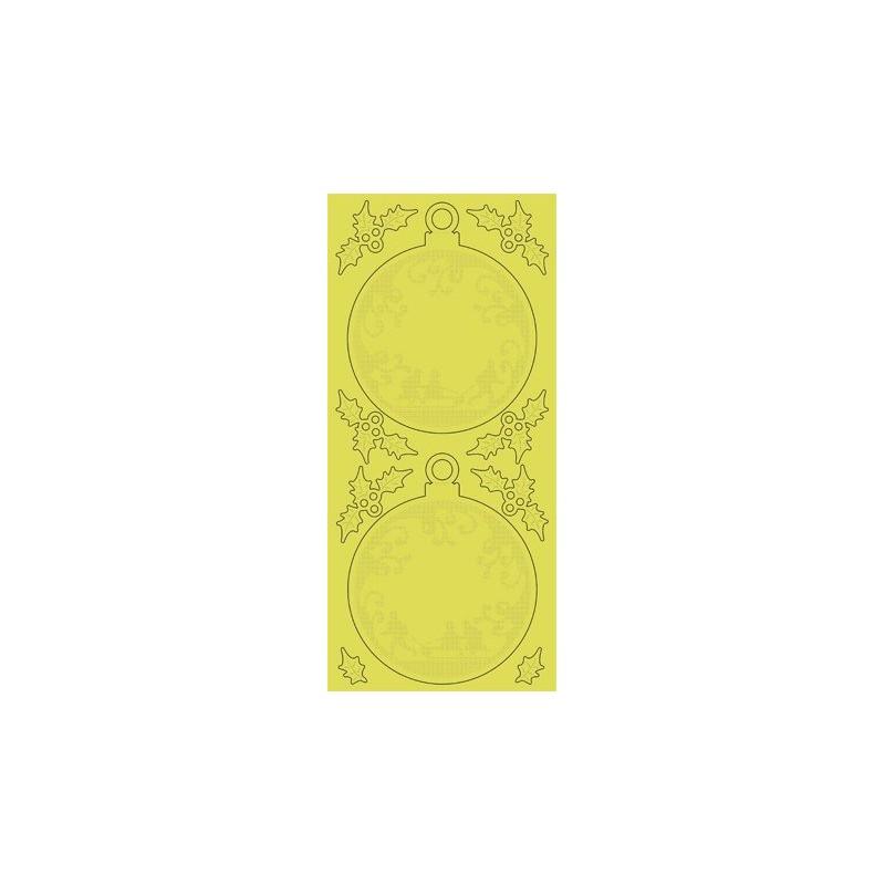 Stickers Peel-off - Boules de Noël - Or