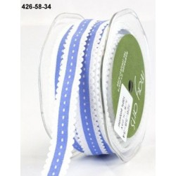 Ruban grosgrain festonné - Imprimé couture - Bleu