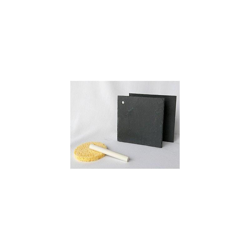 Support en ardoise - Carré 10x10 cm 1 trou - 2 pièces