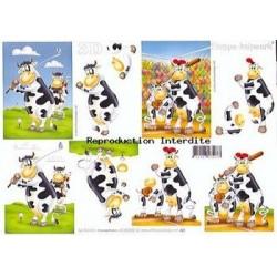 Image Carterie 3D - Vaches au golf/baseball