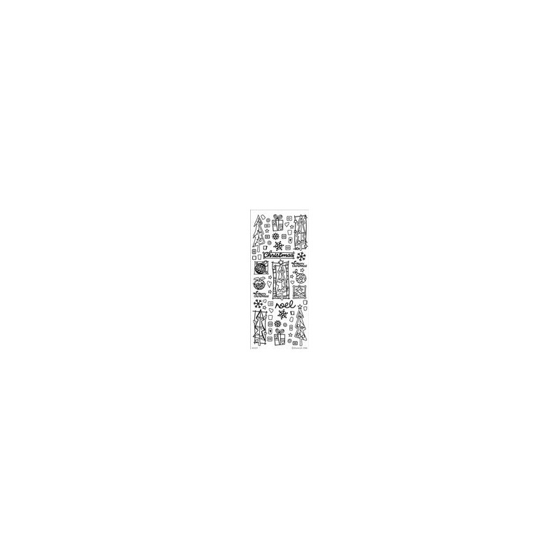 Stickers Peel-off - Sapin de Noël - Argent