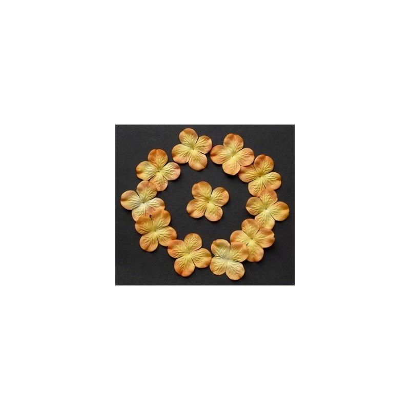 Fleurs Hydrangea 50 mm - Orange/Jaune (50 pièces)