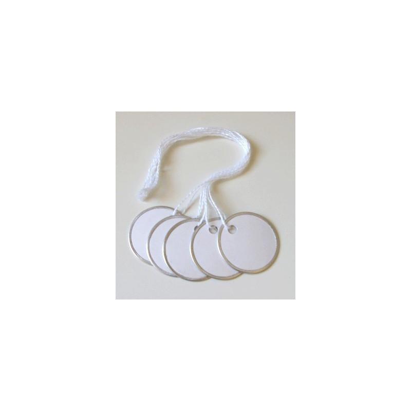Tags ronds blancs - Bords métal - 3 cm (10)