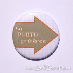 Badge 38mm - Flèche Ma Photo préférée - Orange Vif