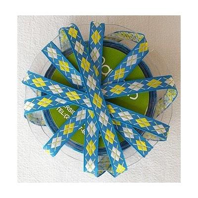Ruban losanges bleu-jaune-blanc