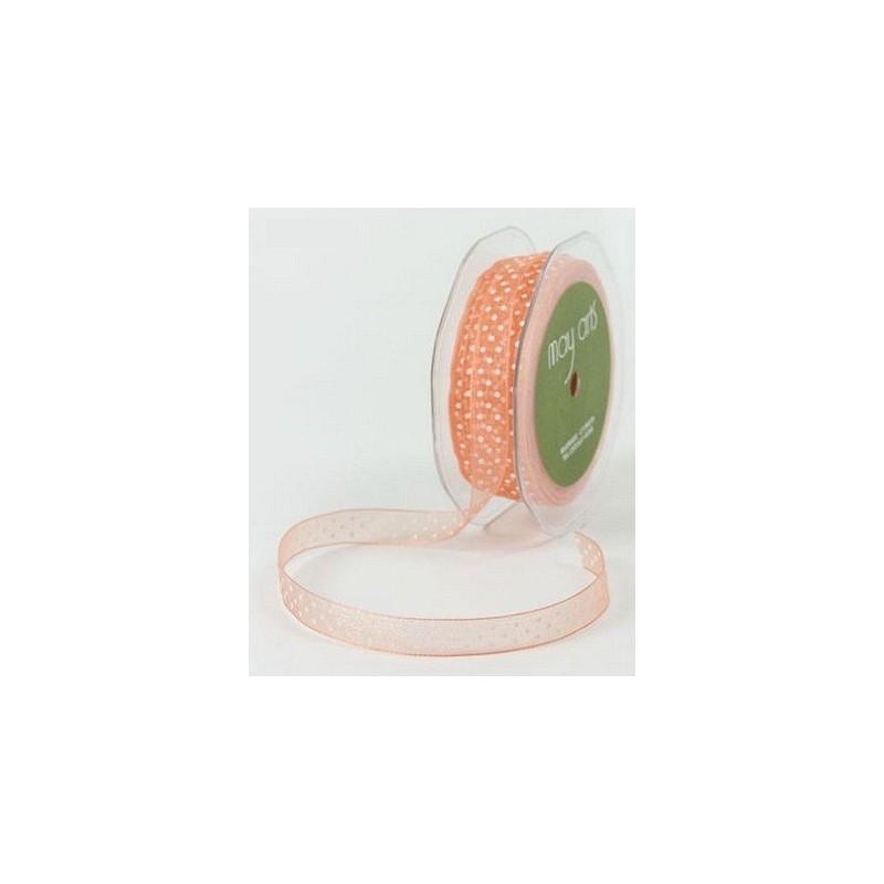 Ruban Organza Orange à pois blancs
