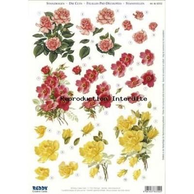 Image Carterie 3D pré-découpée - Bouquets de roses