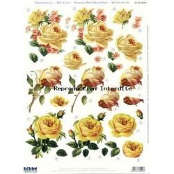 Image Carterie 3D pré-découpée - Roses jaunes
