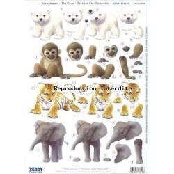 Image Carterie 3D pré-découpée - Bébés animaux sauvages