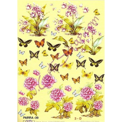 Image Carterie 3D - Fleurs & Papillons