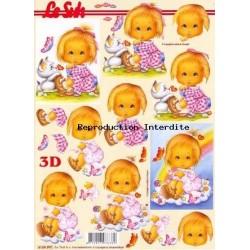 Image Carterie 3D - Petite fille triste / arc-en-ciel