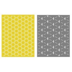 Set de 2 pochoirs de gaufrage Lifestyle Crafts - Honeycomb