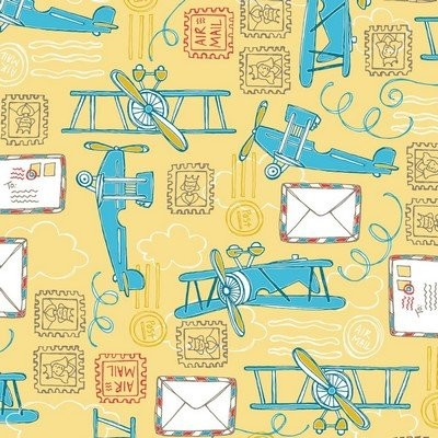 Fat Quarter Camelot - Take Flight - Air Mail Yellow