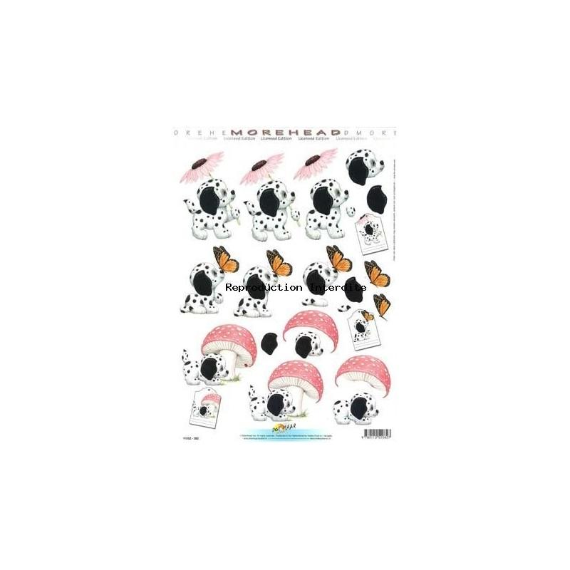 Image Carterie 3D - Dalmatien & fleur/papillon/champignon