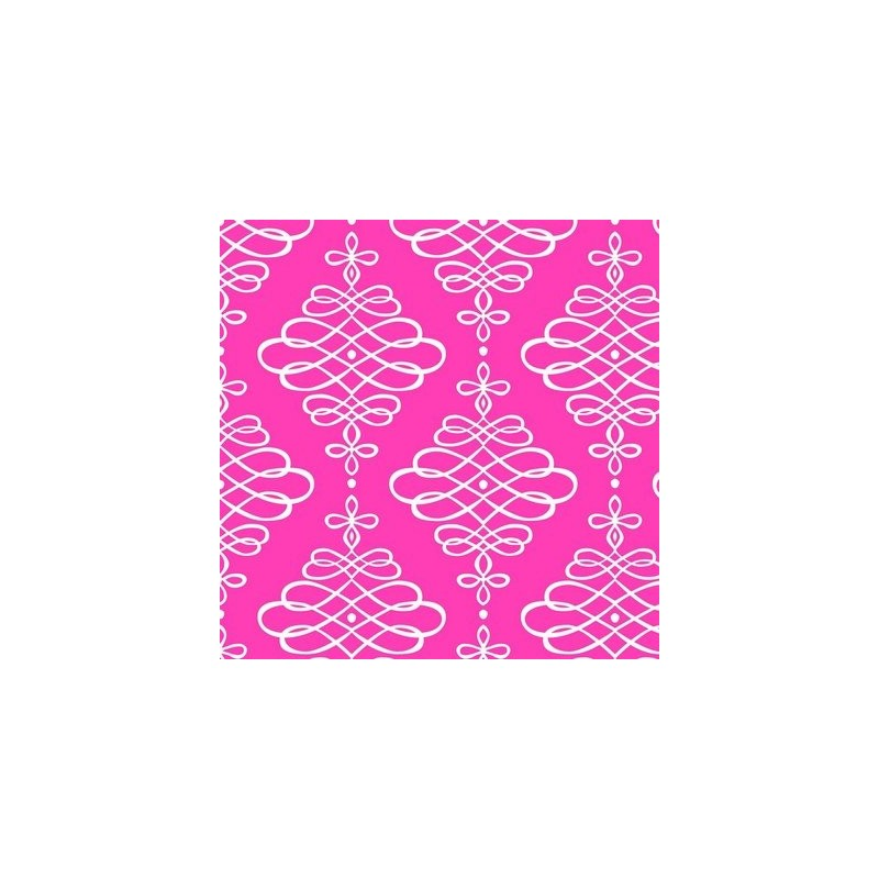 Fat Quarter Camelot - Neon & On - Scroll Neon Pink