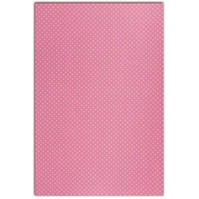 Coton enduit DailyLike - Rose pois blanc