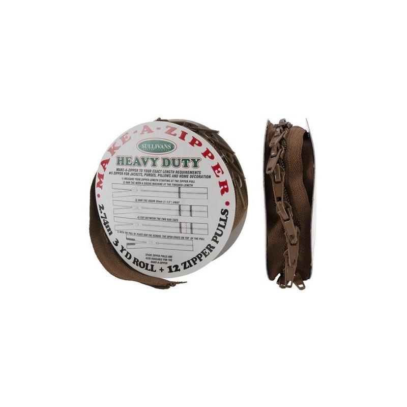 Rouleau de fermeture zippée - Grande résistance - Marron