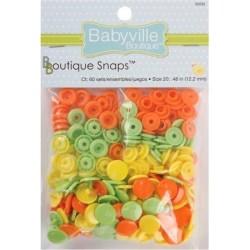 Boutons pressions en résine (60 sets) - Vert, Jaune, Orange