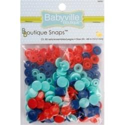 Boutons pressions en résine (60 sets) - Marine, Turquoise, Rouge (Taille 20)