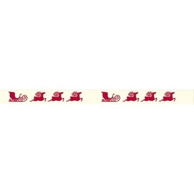 Masking Tape - Rennes rouges sur fond beige